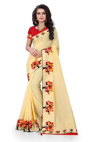 Beige Color Silk Designer Saree - RIHANA-01