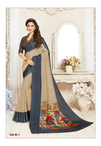 Beige and Dark Grey Color Manipuri Silk Saree - RITI-1901