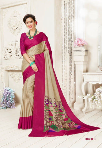 Beige and Pink Color Manipuri Silk Saree - RITI-1903