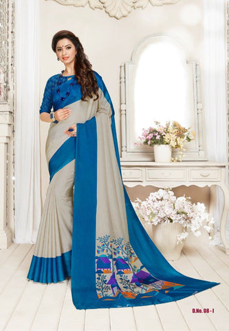 Beige and Blue Color Manipuri Silk Saree - RITI-1904