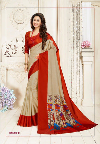 Beige and Orange Color Manipuri Silk Saree - RITI-1906