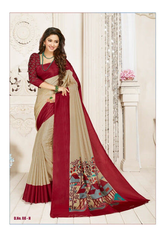 Beige and Maroon Color Manipuri Silk Saree - RITI-1907