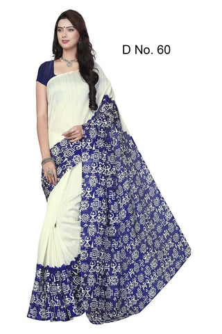 White and Blue Color Bhagalpuri Sarees -