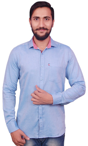 Blue Color Cotton Men's Shirt - RIWAS-129BLUE