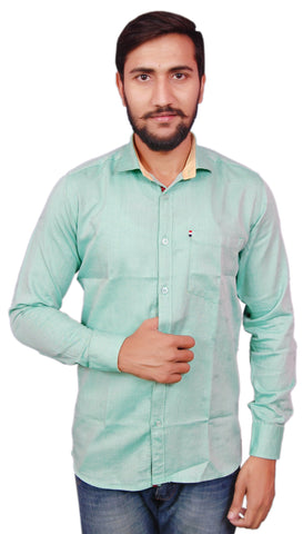 Green Color Cotton Men's Shirt - RIWAS-129GREEN