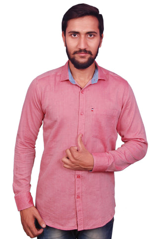 Red Color Cotton Men's Shirt - RIWAS-129RED