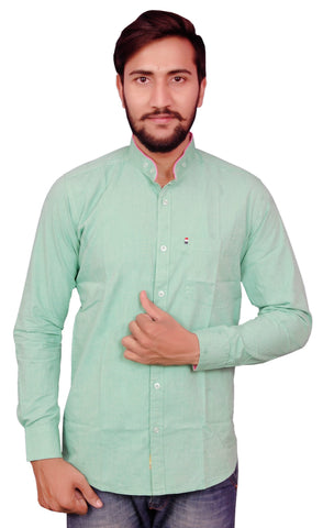 Green Color Cotton Men's Shirt - RIWAS-130GREEN