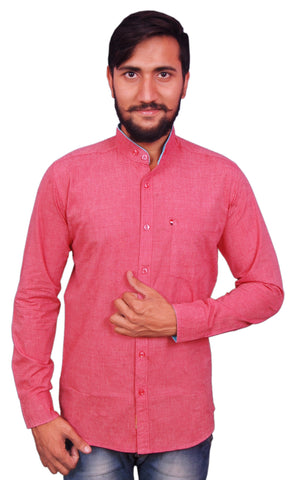 Red Color Cotton Men's Shirt - RIWAS-130RED