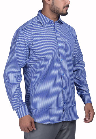Blue Color Bland Cotton Polyster Men's Shirt - RIWAS-132LBLUE
