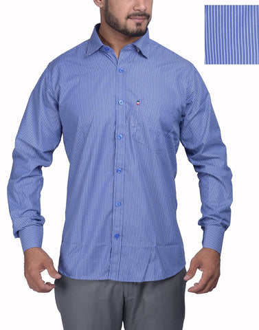 Blue Color Bland Cotton Polyster Men's Shirt - RIWAS-132MBLUE