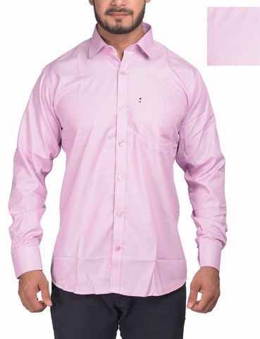Pink Color Bland Cotton Polyster Men's Shirt - RIWAS-132PINK