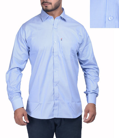 Blue Color Bland Cotton Polyster Men's Shirt - RIWAS-132SBLUE