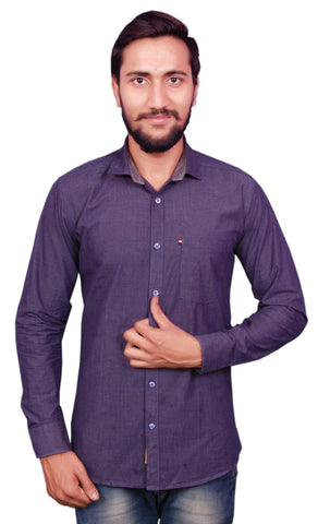 Grey Color Cotton Men's Shirt - RIWAS-R127GREY