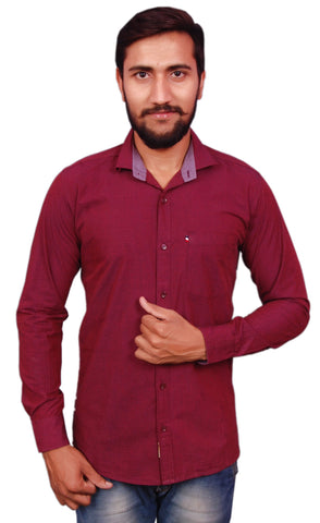 Maroon Color Cotton Men's Shirt - RIWAS-R127MAROON