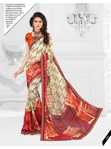 Multi Color Printed Georgette Saree With Unstitched Blouse - RJDFXLOTS5001