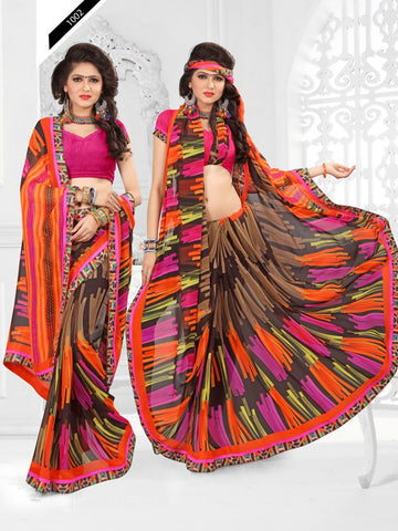 Multi Color Printed Georgette Saree With Unstitched Blouse - RJDFXLOTS5002