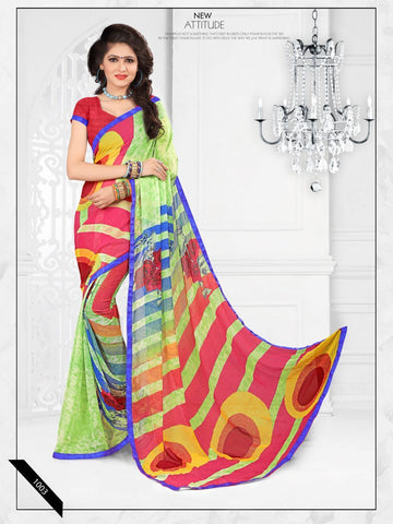 Multi Color Printed Georgette Saree With Unstitched Blouse - RJDFXLOTS5003