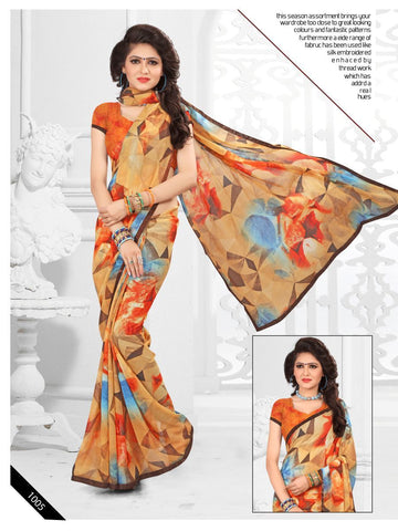 Multi Color Printed Georgette Saree With Unstitched Blouse - RJDFXLOTS5005