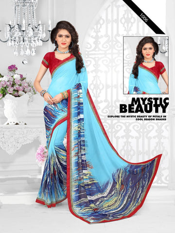 Multi Color Printed Georgette Saree With Unstitched Blouse - RJDFXLOTS5006