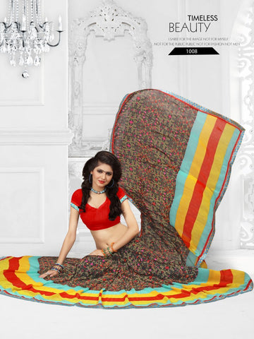Multi Color Printed Georgette Saree With Unstitched Blouse - RJDFXLOTS5008