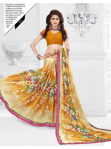 Multi Color Printed Georgette Saree With Unstitched Blouse - RJDFXLOTS5011