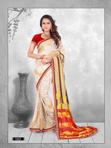 Multi Color Printed WeighLess Georgette Saree With Unstitched Blouse - RJDFXPRI11002