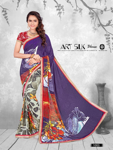 Multi Color Printed WeighLess Georgette Saree With Unstitched Blouse - RJDFXPRI11003