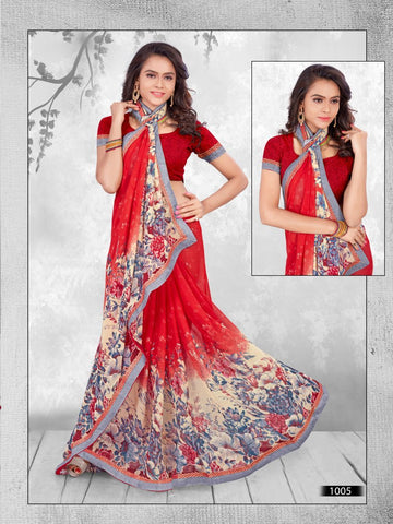 Multi Color Printed WeighLess Georgette Saree With Unstitched Blouse - RJDFXPRI11005
