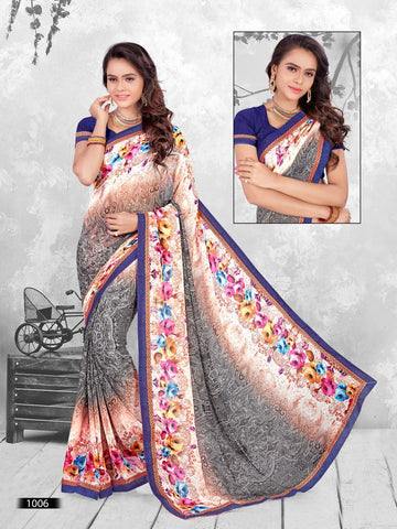 Multi Color Printed WeighLess Georgette Saree With Unstitched Blouse - RJDFXPRI11006