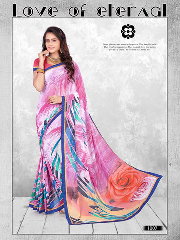 Multi Color Printed WeighLess Georgette Saree With Unstitched Blouse - RJDFXPRI11007