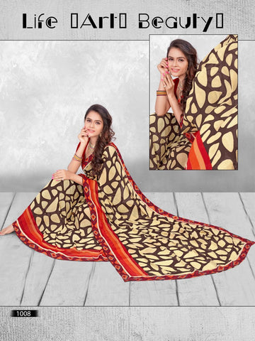 Multi Color Printed WeighLess Georgette Saree With Unstitched Blouse - RJDFXPRI11008