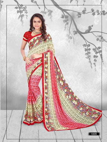 Multi Color Printed WeighLess Georgette Saree With Unstitched Blouse - RJDFXPRI11009
