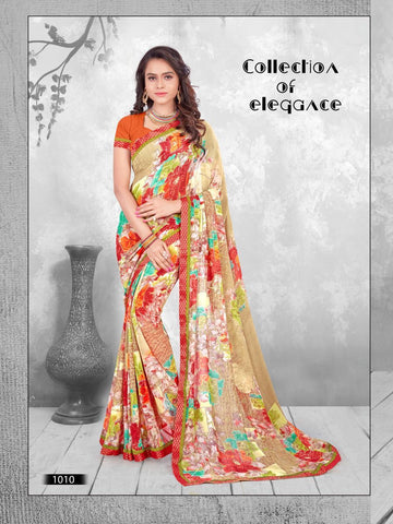 Multi Color Printed WeighLess Georgette Saree With Unstitched Blouse - RJDFXPRI11010