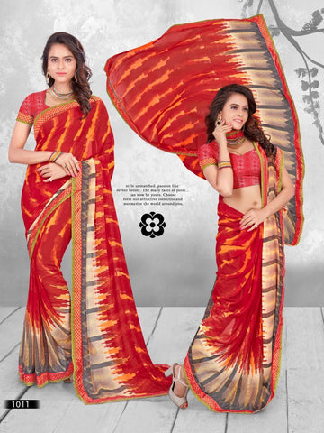Multi Color Printed WeighLess Georgette Saree With Unstitched Blouse - RJDFXPRI11011