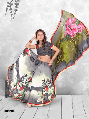 Multi Color Printed WeighLess Georgette Saree With Unstitched Blouse - RJDFXPRI11012