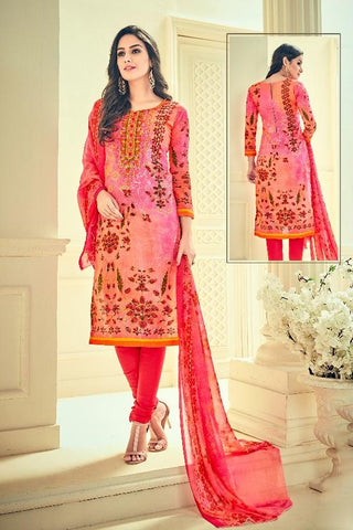 Peach Color Premium Lawn Cotton UnStitched Salwar - RJKFXHUM3001