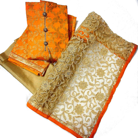 Orange Color Premium Melbourne Jacquard Silk SemiStitched Salwar - RJNFXNTITORNG