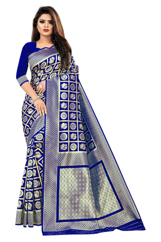 Dark Blue Color Banarasi Cotton Women's Saree - RJSMWBMRBLD