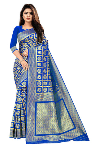 Royal Blue Color Banarasi Cotton Women's Saree - RJSMWBMRBLR