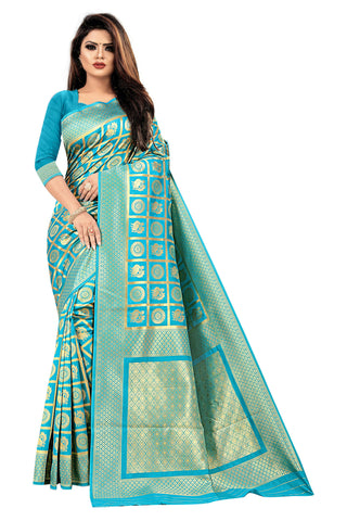 Firozi Color Banarasi Cotton Women's Saree - RJSMWBMRFRZ