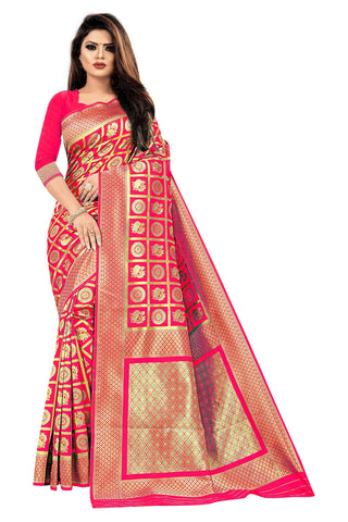 Reddish Pink Color Banarasi Cotton Women's Saree - RJSMWBMRGJR