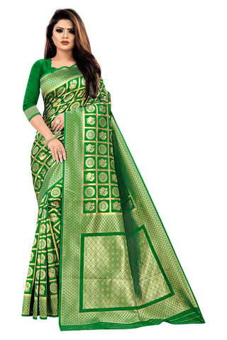Green Color Banarasi Cotton Women's Saree - RJSMWBMRGRN