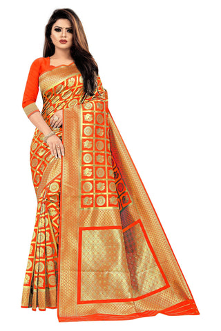Orange Color Banarasi Cotton Women's Saree - RJSMWBMRORG