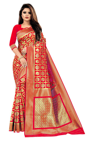 Red Color Banarasi Cotton Women's Saree - RJSMWBMRRED