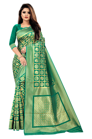 Rama Green Color Banarasi Cotton Women's Saree - RJSMWBMRRMA