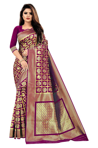 Wine Color Banarasi Cotton Women's Saree - RJSMWBMRWIN
