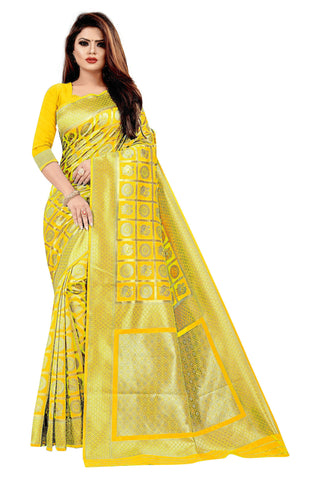 Yellow Color Banarasi Cotton Women's Saree - RJSMWBMRYLW
