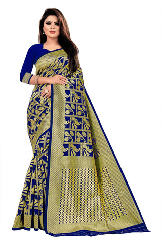 Dark Blue Color Banarasi Cotton Women's Saree - RJSMWBTBBLD