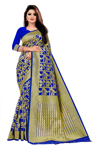 Royal Blue Color Banarasi Cotton Women's Saree - RJSMWBTBBLR