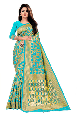 Firozi Color Banarasi Cotton Women's Saree - RJSMWBTBFRZ